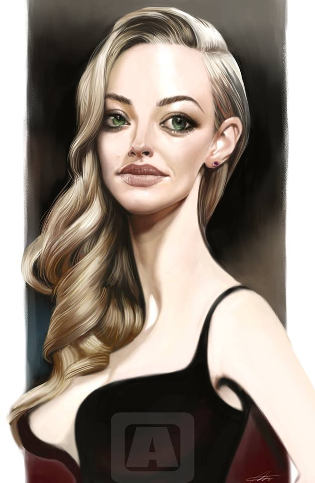 Amanda Seyfried (American actress) caricature, The Caricature by Angineer Ang, from Seoul, South Korea.