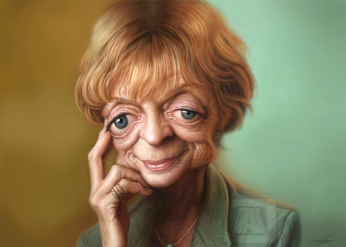 Maggie Smith, Caricature by Angineer Ang, Seoul, South Korea