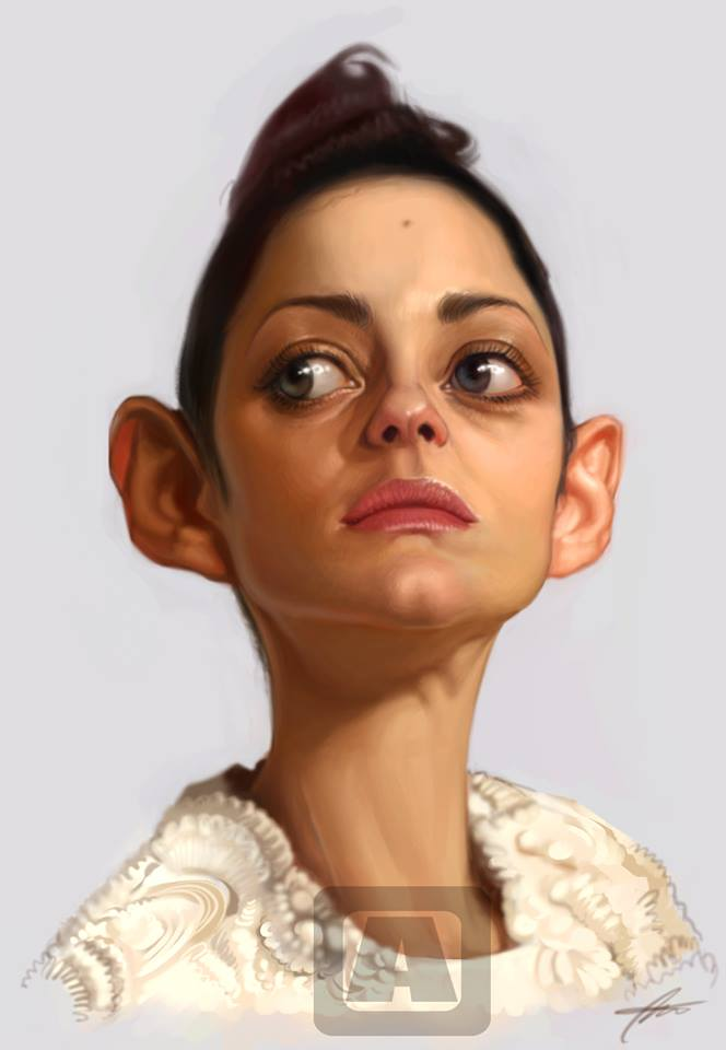 Marion Cotillard, Caricature by Angineer Ang, Seoul, South Korea