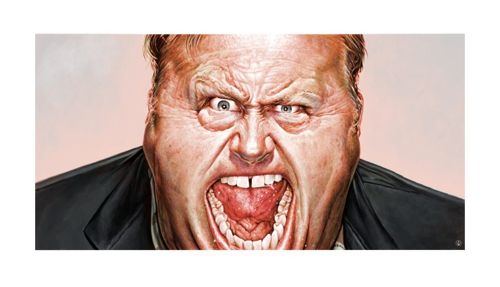 Love him or hate him, this is a caricature of Alex Jones.